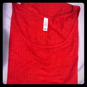 Lularoe Red Ribbed Lynnae Top